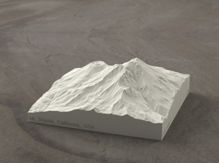 4'' Mt. Shasta, California, USA, Sandstone 3d printed Radiance rendering of model, viewed from the SSE