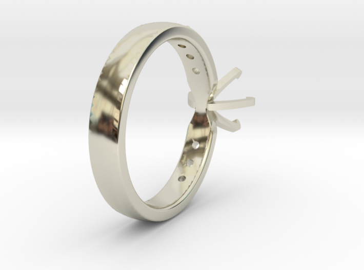 1ct Custom Engagement Ring 3d printed