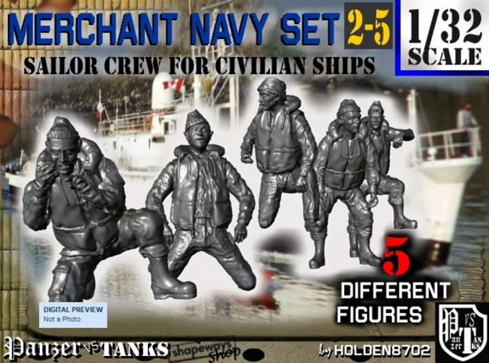 1-32 Merchant Navy Crew Set 2-5 3d printed
