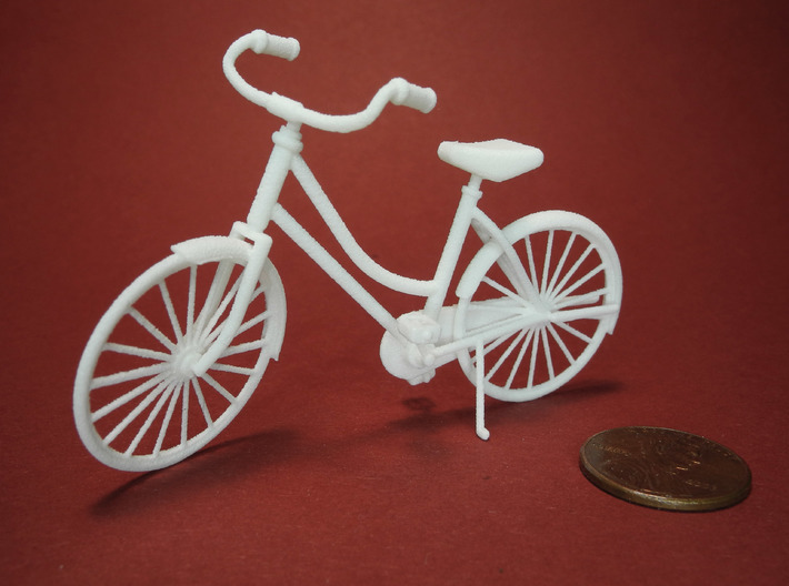 Miniature Vintage Bicycle (1:24) 3d printed Printed in White, Strong & Flexible