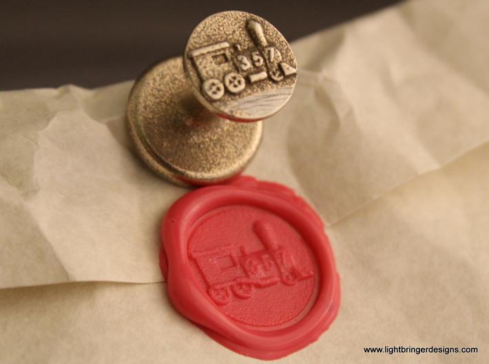 Locomotive Wax Seal 3d printed Locomotive wax seal with impression in Plumeria Pink sealing wax
