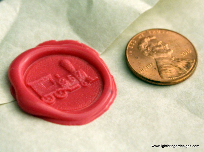 Locomotive Wax Seal 3d printed Locomotive impression in Plumeria Pink sealing wax with penny for scale