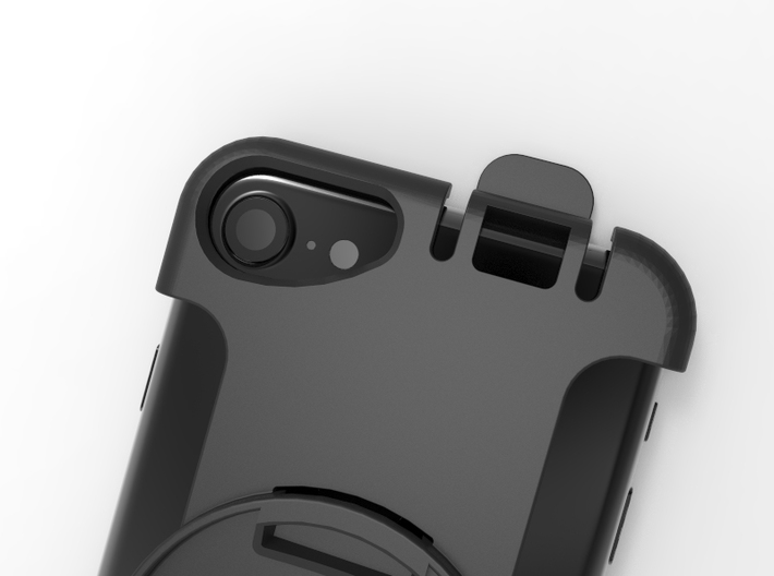 Holder for iPhone 6/6s/7/8 in Garmin Carkit 3d printed Showing the iPhone 7 camera
