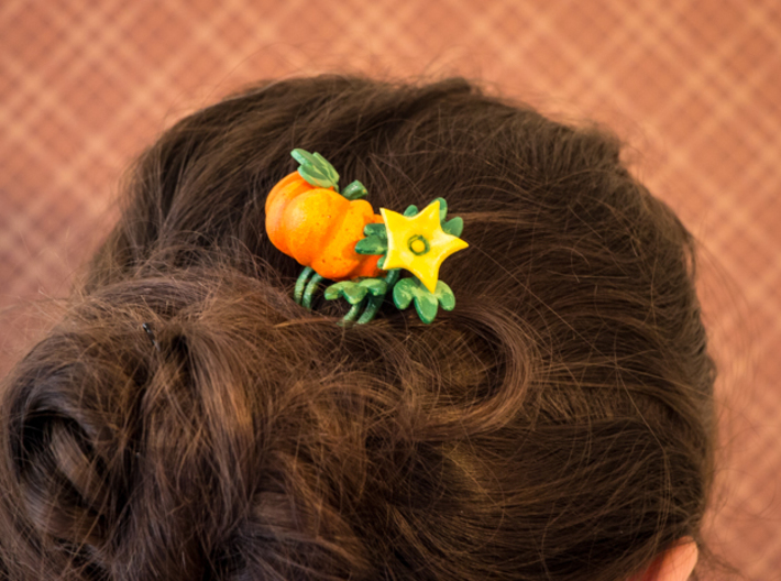 Fairytale Pumpkin Hair Comb 3d printed White Strong and Flexible polished, hand painted
