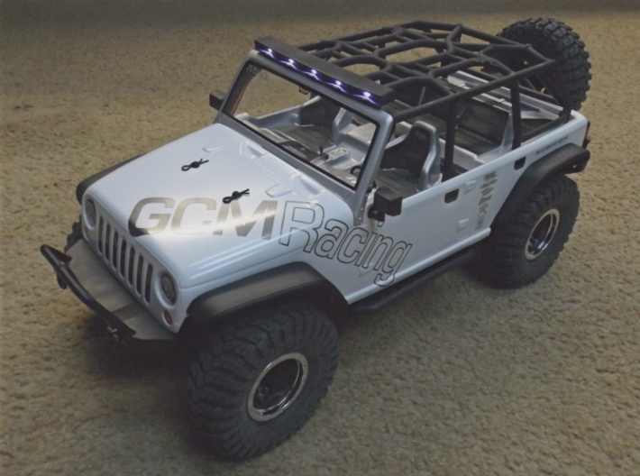 Axial JK 4dr Roof Kit 3d printed Front view of Roof with Light bar