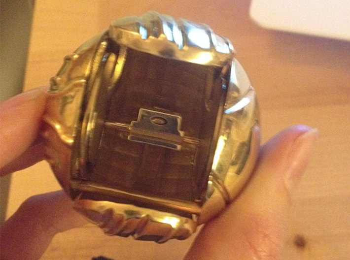 Harry's First Snitch Ring Box-Pt.1-Body-Original 3d printed Polished Brass - open with Ring holder