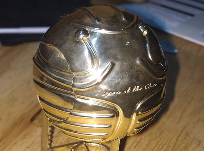 Harry's First Snitch Ring Box-Pt.1-Body-Original 3d printed Polished Brass - closed