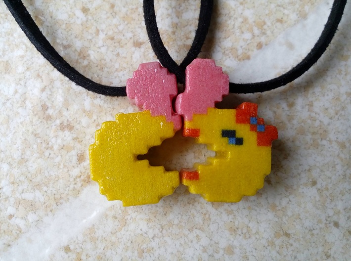 Pac-Man Pendant Halves 3d printed Wonderful together.