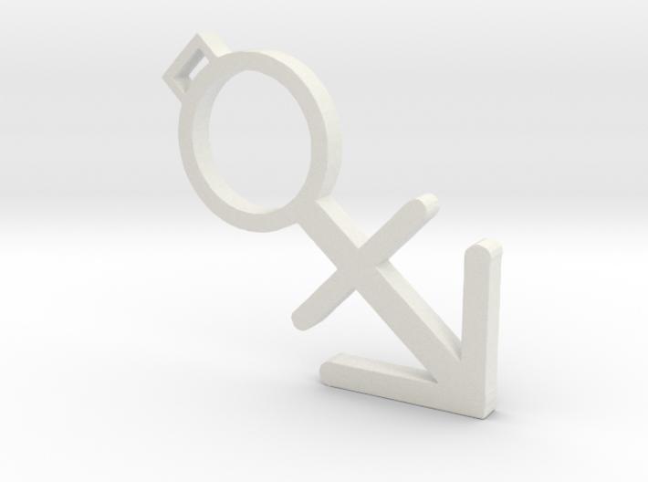 Small nonbinary transgender pendant 3d printed