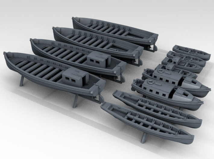 1/600 WW2 RN Boat Set 2 with Mounts 3d printed 3D Render displaying detail