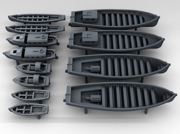 1/500 WW2 RN Boat Set 2 with Mounts 3d printed 3D Render displaying detail
