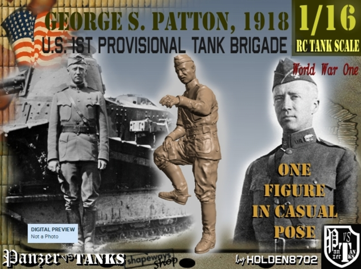 1-16 George S Patton Resting Leg 1918 3d printed
