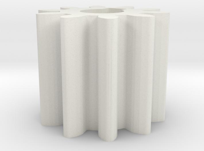 Cylindrical gear Mn=1 Z=10 - Alfa=20° Beta=0° b=10 3d printed