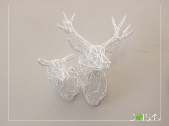 3D Printed Wired Life Doe Trophy Head Medium Facin 3d printed Doe with Stag turning left