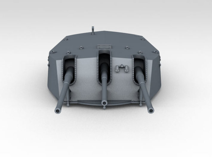 1/600 RN Triple 6 Inch MKXXIII Turrets (4) 3d printed 3d render showing detail