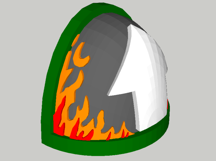 10 Shoulder Pads Arrow with Flames 3d printed