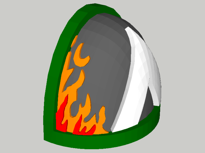 10 Shoulder Pads Triangle with Flames 3d printed