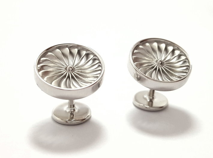 Jet Engine Cufflinks 3d printed Polished Silver Jet Engine Cufflinks