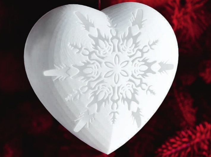 Small Snowflake Heart by Helen & Colin David 3d printed Snowflake Heart as featured in Red Magazine - December 2013