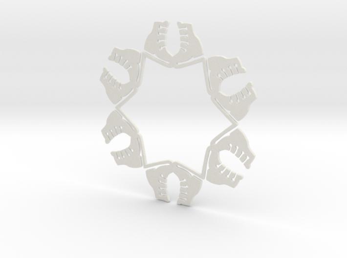 Ice Skates Snowflake Ornament 3d printed