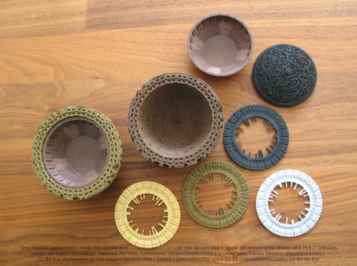 Pot parts for Guardians Galaxy Outside-Shell 3d printed Own 3D-Prints with wood, PLA and some rings are painted.