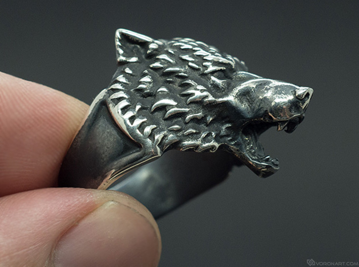 Wolf Head Ring 3d printed Blackened polished silver. You'll get the ring without blackening, but you can do it yourself