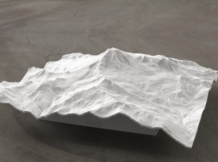 6'' Mt. Baker, Washington, USA, WSF 3d printed Radiance rendering of model data, viewed from the West