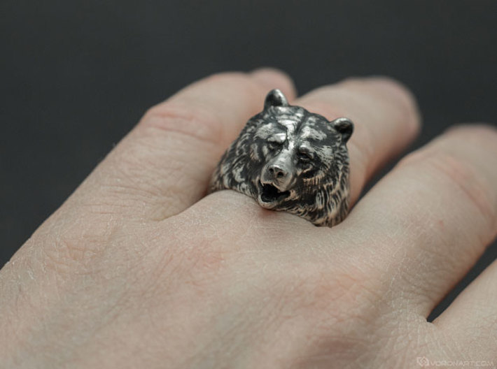 Bear ring 3d printed Blackened polished silver. You'll get the ring without blackening, but you can do it yourself