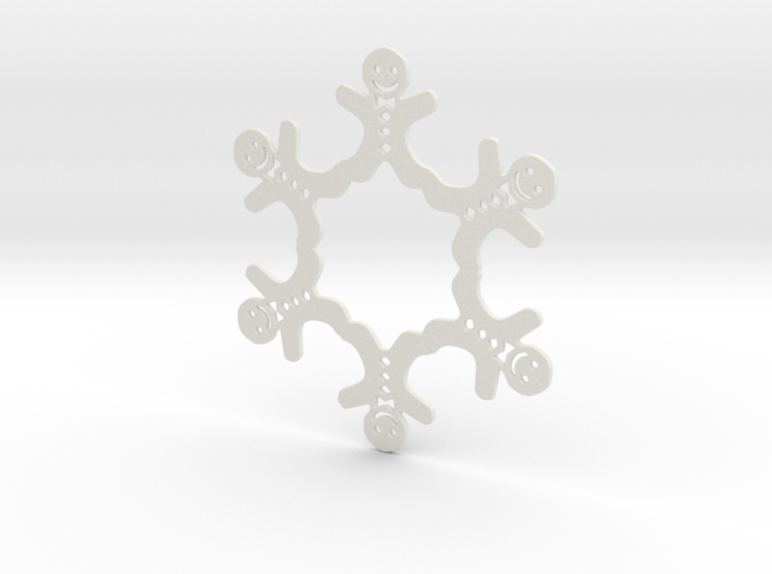 Gingerbread Man Snowflake Ornament 3d printed