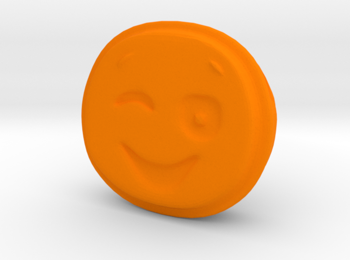 Winking EMOJI Face Pendant Charm 3d printed