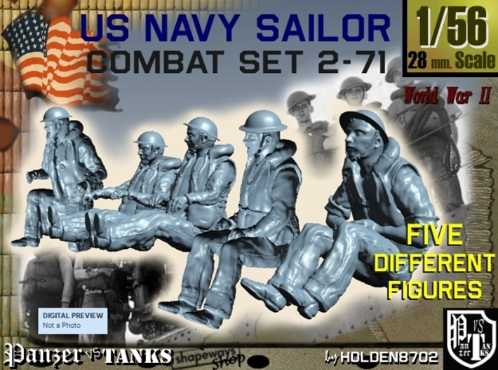 1-56 US Navy Sailors Combat SET 2-71 3d printed