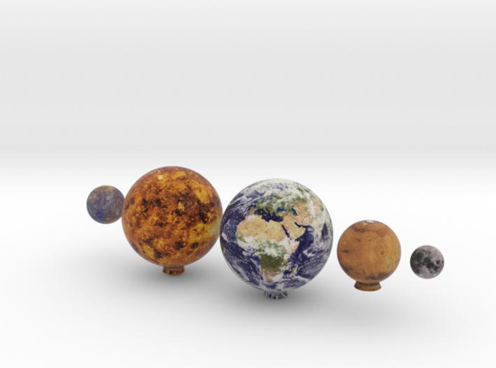 Mercury, Venus, Earth, Moon & Mars to scale v.1 3d printed