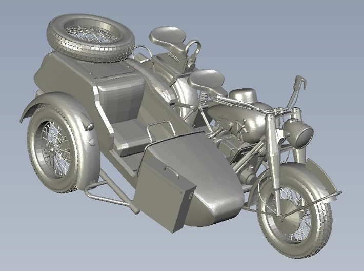 1/100 scale WWII Wehrmacht motorcycles x 3 3d printed