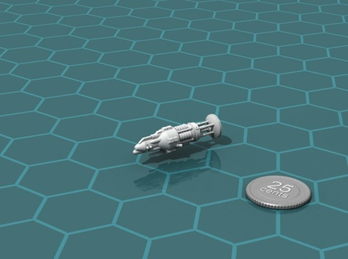 USS Aristarchus class Escort 3d printed Render of the model, with a virtual quarter for scale.
