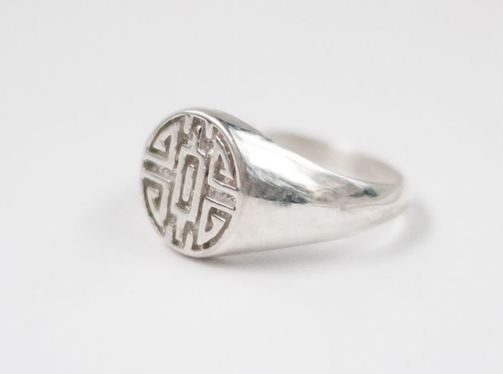 Wealth - Lady Signet Ring 3d printed Wealth Lady Signet Ring in Polished Silver