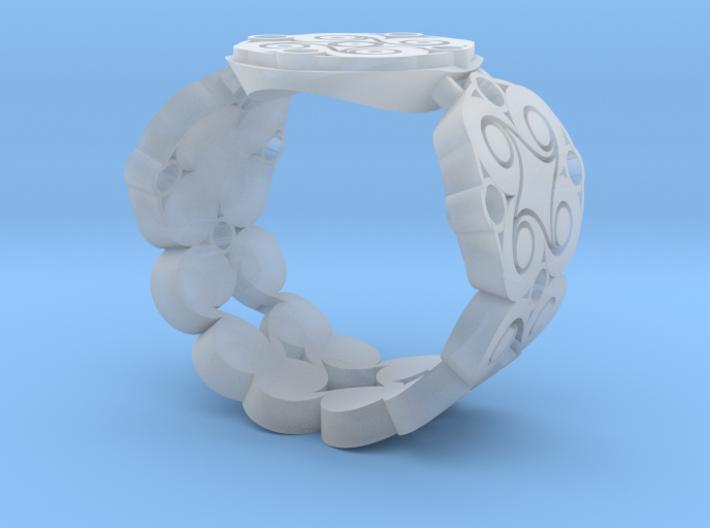 Filigree Swirl Signet Ring 3d printed