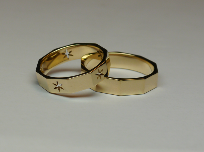 Decagon of Life Ring  3d printed  Decagon of Life ring [Left] & Pure Decagon ring [right]