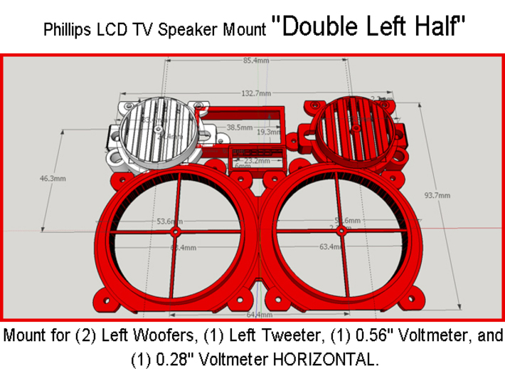 "Phillips LCD TV Speaker Mount ""Left Half"" 3d printed"