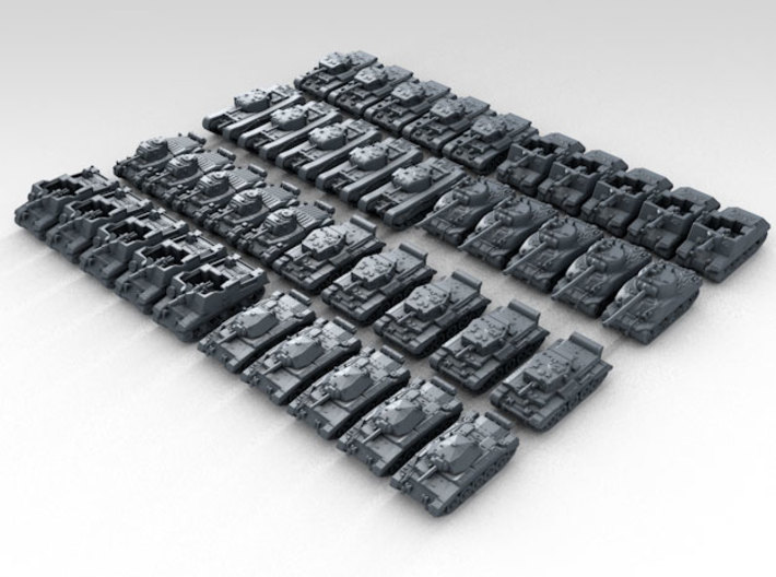 1:700 WW2 British Tank Set 1 Various Types (40) 3d printed Render showing product detail