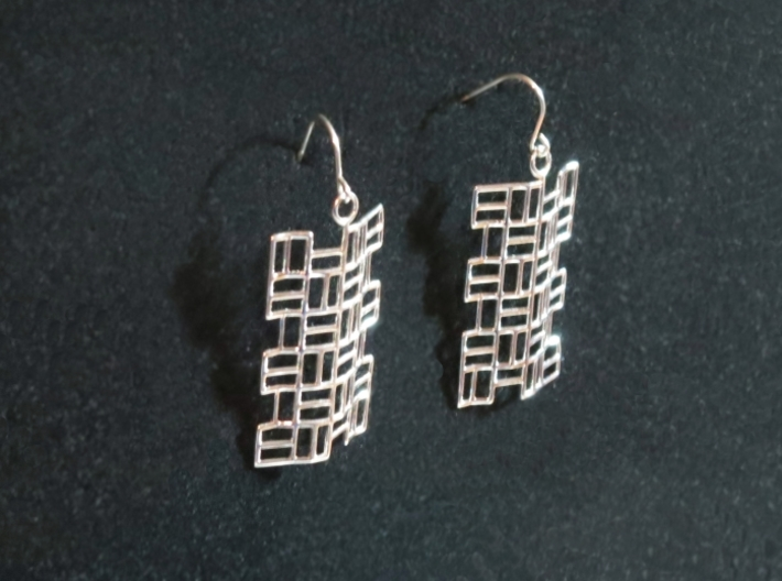 Tatami Earrings 3d printed