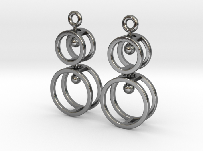 Double Double  -- Earrings in Interlocking metal 3d printed