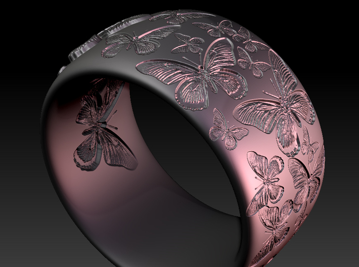 Butterfly Ring One 3d printed
