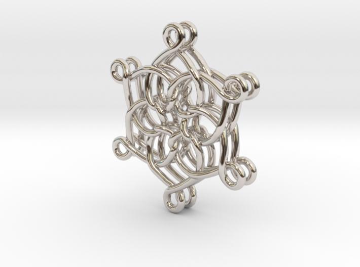 6 Hearts Snowflake Earrings 3d printed