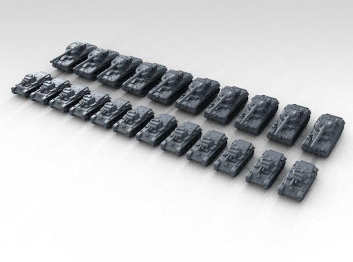 1:700 WW2 Swedish Tank Set Various (22) 3d printed Render showing product detail