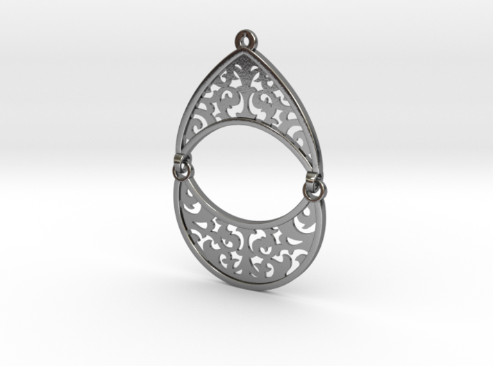 BlakOpal Filigree Teardrop Earring 3d printed