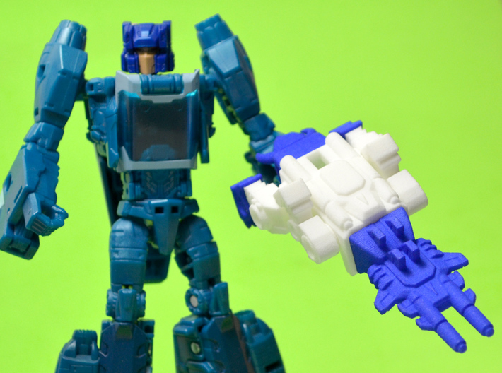 "Horri-Bull Minivehicle, ""A"" Parts 3d printed Weapon Mode, shown with Blurr/Terri-Bull Titan Master (not included)"