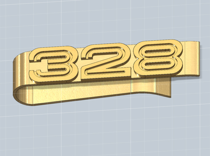 MONEY CLIP 328 SLEEK 3d printed Money clip with the 328 logo, render