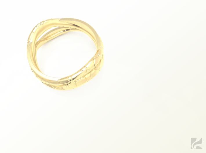 Full Dual Modern Ring 3d printed Gold