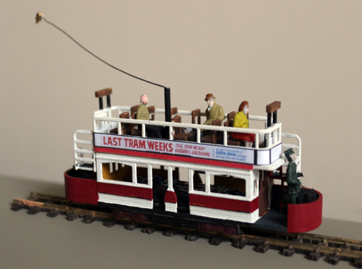 Eastbourne Tramway Car 2 3d printed Finished car - figures and trolley pole/standard not included.