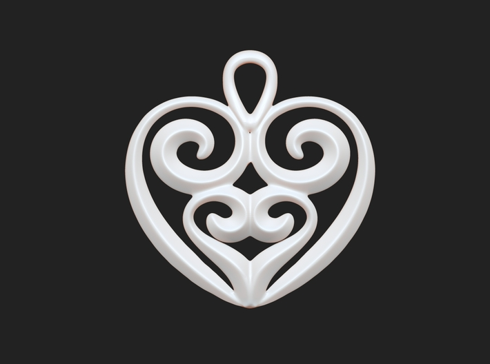 Heart-shaped Pendant 25mm 3d printed